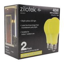 ( 2-pack) Yellow LED Bug Light Bulb 7 watt (40w Equivalent) A19 Indoor/Outdoor