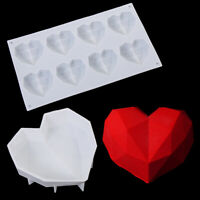 3D Silicone Diamond Heart Shape Mold Fondant Chocolate Baking Mould Cake Decor