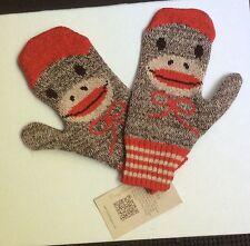 nwt usa made by Green 3 waving Sock Monkey Mittens osfm  reg 27.00