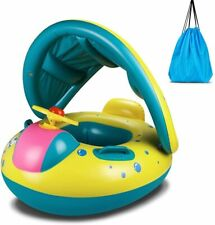 Baby Inflatable Swimming Ring with Adjustable Sun Shade and Steering Wheel|Baby