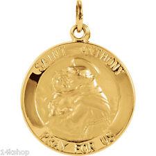14K Solid GOLD Medium St St. Saint Anthony round medal charm  pendant
