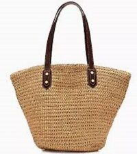 J CREW Woven Straw Cotton Lining Leather Strap Shoulder Bag Market Beach Tote M