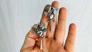 Taxco Love Bird Earrings. Sterling Silver. Mexico. Frida Kahlo