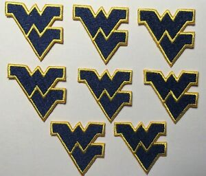 "west virginia patch wv patch 8 pc lot iron on patches 1 3/8"" wide WVU West VA U"