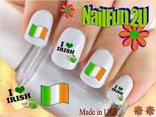 "Nail Art #526 COUNTRIES ""Ireland Flag Irish"" WaterSlide Nail Decals Transfers"