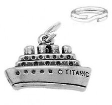 "STERLING SILVER ""SMALL TITANIC SHIP""  CHARM WITH SPLIT RING"