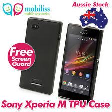 TPU Gel iSkin Jelly Case Cover Skin Screen Protector for Sony Xperia M - Black