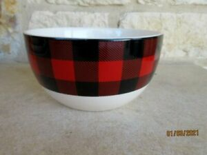 Robert Stanley Northwood Lodge Cereal Bowl Black/Red Buffalo Check