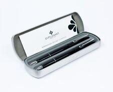Diplomat Esteem Fountain & Rollerball Pen Set in Gloss Black Chrome Trim NEW