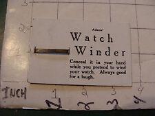vintage ADAM'S circa 1950's trick ---card only---: WATCH WINDER