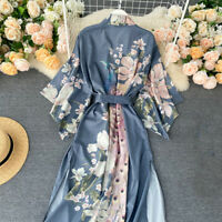 Ladies Japanese Kimono Coat Floral Yukata Outwear Long Bathrobe Tops Satin Sleep