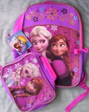 Disney FROZEN Backpack Elsa Anna Sparkly Lunc Box NEW +FOLDER Book Bag Lunchbox