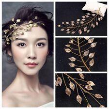 Crown Forehead Gold Leaf Headband Women Tiara Bridal  Headpieces Cinnamon