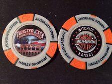 "Harley Golf Ball Marker Poker Chip (Gray/Orange) ""Twister City"" Wichita KS ERROR"