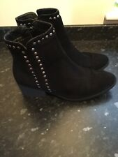 Asos Black Suede Ankle Boots Size 8 But Small 8 Worn Twice