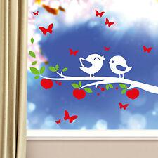 11080 Wandtattoo Fenster Aufkleber Ast Vögel Zweig Vogel Schmetterlinge Sticker