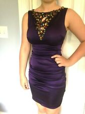 Cache' Bodycom Stretch Purple Satin Semi-Formal Mini Dress - Size 4