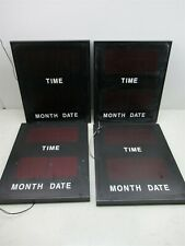 "Lot of 4 Time Month Date Wall Hanging LED Display Signs 18"" x 15"" Wall Mount"
