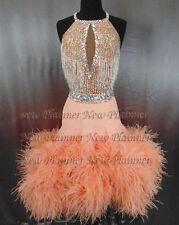 L3951 Ostrich feather  Ballroom latin swing rumba samba chacha dance dress us 6