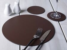 Set of 8 BROWN ROUND Leatherboard PLACEMATS & 8 COASTERS (16 Piece Set)