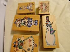 Vintage Set 5 Stampendous Wood Mounted Rubber Stamps Precious Moments, Cookies