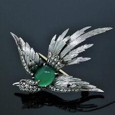 Euro Antique Handmade 18K White Gold Diamond Ruby & Green Onyx Bird Pin/Brooch