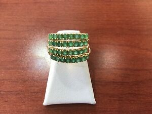 18K yellow gold emerald four row stackable ring