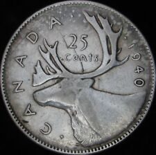 1940 VF Details Canada Silver 25 Cents - KM# 35 - JG
