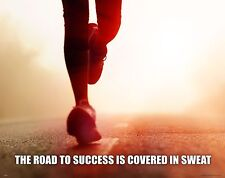 Running Motivational Poster Print Jogging Shoes Shorts Boston Marathon MVP482