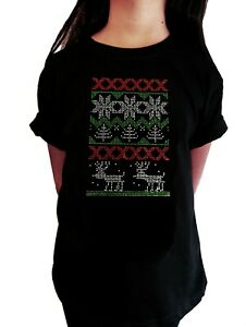 """Girls Rhinestone T-Shirt """" Christmas Ugly Shirt with Reindeer """" in All Sizes"""