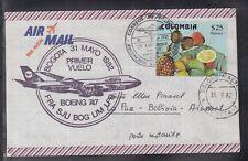 A 198 ) beautiful FFC / First Flight 1982 Lufthansa - Bogota to La Paz / Bolivia