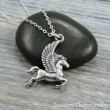 925 Sterling Silver Pegasus Charm Necklace - Unicorn Magical Horse Jewelry NEW