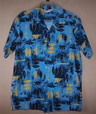 Men's Large 4783 MADE IN HAWAII Blue Surf HAWAIIAN Button Shirt