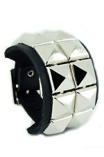 2 Row Pyramid Stud Black Leather Wristband