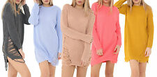 New Womens Oversize Ripped Long Jumper Distressed Knitted Baggy Jumper Dress