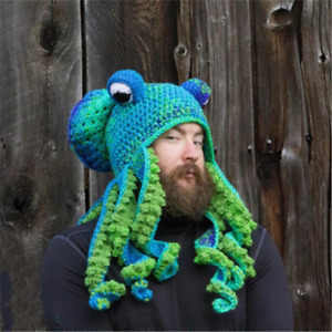 2021 Women Octopus Beard Hand Knitted Knitted Wool Hat Men's Christmas Cosplay