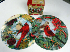 Visions of Red Serendipity 800 Pc Jigsaw Puzzle Double Circle Cardinals Holiday