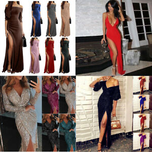 Sexy Women Mermaid Cocktail Evening Long Sleeve Off-Shoulder Solid Maxi Dress ^^