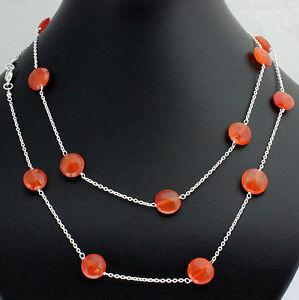 Carnelian Chain 925 Silver Gemstone Necklace Natural Orange Designer ca.36