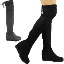 New Womens Ladies Over The Knee High Wedge Boots Long Tie Up Mid Heel Shoes Size