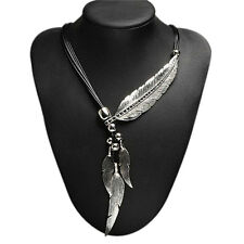 Ladies Vintage Bronze Rope Chain Feather Pendant Choker Statement Necklace TDCA