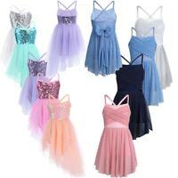 Girls Latin Lyrical Sequin Leotard Dress Ballet Dance Costume Kids Dancewear