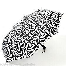 "Modern Robert Indiana Black and White Love Compact Folding Umbrella 42"" Diameter"