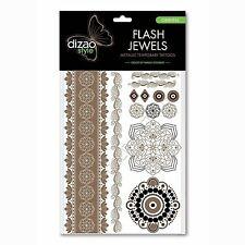 Natural Temporary Tattoos Dizao Style Flash Jewels Gold Metallic Oriental