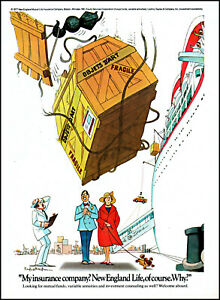 1977 Danger falling ship cargo crate New England Life retro art print ad S13