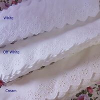 Lovely Embroidered Cotton Eyelet Lace Trim White Offwhite Beige 6cm Wide 5yards