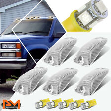 5-Piece Cab Roof Running Light Chrome Housing Yellow LED For 88-02 Chevy/GMC C/K