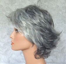 Very Short Very Light and Dark Grey Heat OK Full Synthetic Wig - 7040