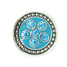 Noosa Chunks Ginger Style Snap Button Charms Blue Rhinestone Flower 20mm NEW