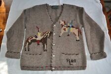 Vintage Ralph Lauren Country 89 Women's Indian/Horse Design Wool Cardigan Medium